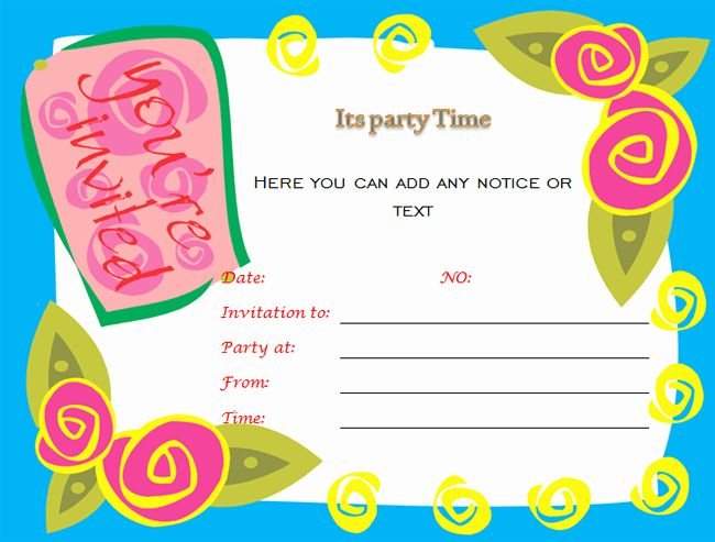 Party Invitation Template Microsoft Word Luxury Birthday Party Invitations Microso Free Party Invitation Templates Party Invite Template Free Party Invitations