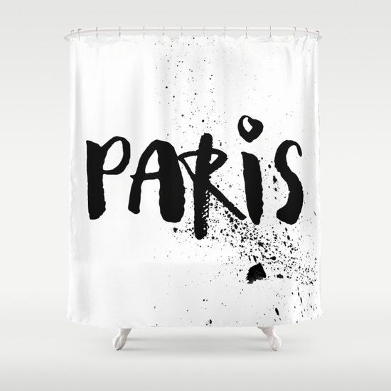 Shower Curtain - Paris Shower Curtain - Black and White Shower Curtain - Paris Decor - Modern Shower Curtain - Paris Black and White (89.00 USD) by MyModernAbode