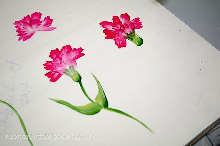 How To Paint A Carnation Flowerpatchfarmhouse Com 25 Of 30 Acrylic Painting Flowers Flower Painting Carnations
