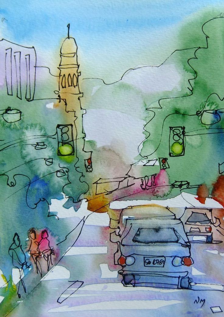 Drawing Lines With Pixels : Watercolor painting cityscape cars contour line drawing