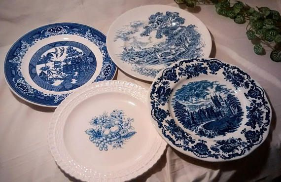 Mismatched Blue and White 9 Inch Dinner Plates Vintage Set & Mismatched Blue and White 9 Inch Dinner Plates Vintage Set ...