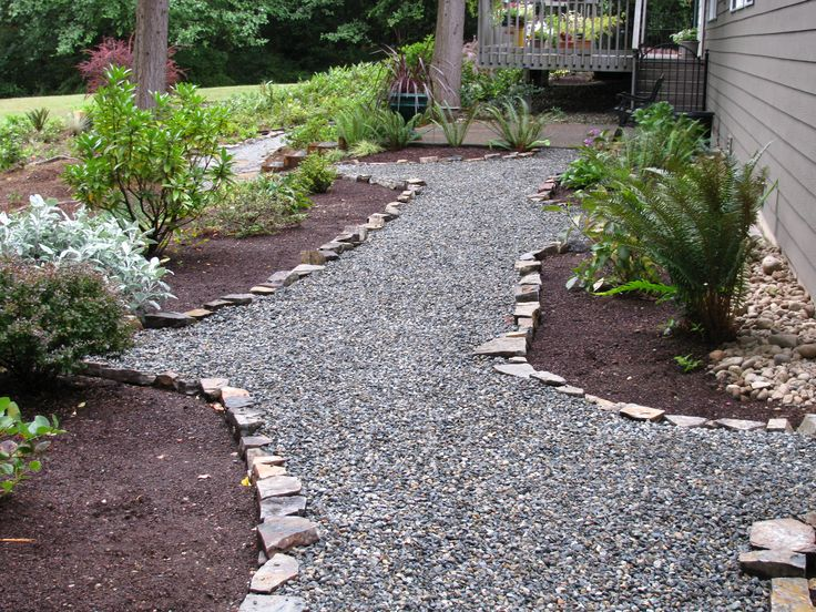 Easy and cheap crushed rock pathway with rock edging for Stone landscaping ideas