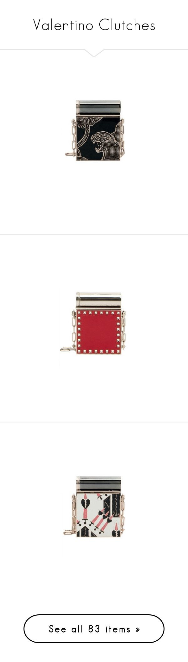 """""""Valentino Clutches"""" by sakuragirl ❤ liked on Polyvore featuring bags, handbags, clutches, print purse, box clutch, gold handbags, hard clutch, pattern purse, white clutches and chain handle handbags"""