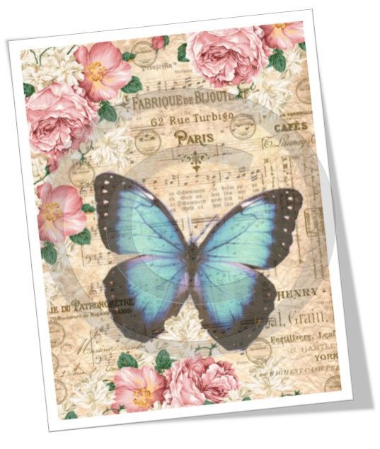 Digital Collage Sheet Download  A4 Vintage Butterfly