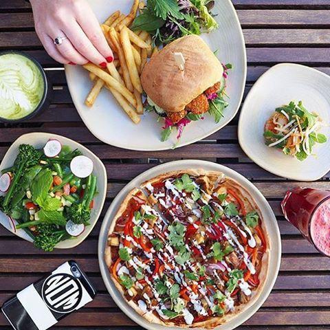See this Instagram photo by @vegsociety • 47 likes Veggie feast at @vegiebar 🍕⚡️🍔
