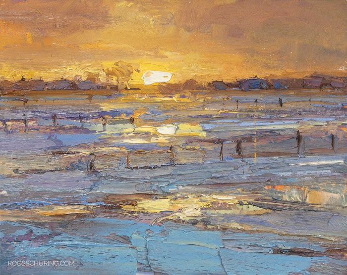 Posted at: https://roosschuring.com/painting-landscapes/sunrise-and-snow/ Catching it! Here all snow had vanished in the time I started and ended the painting. The beauty of the landscape changing 180 degrees :) see it's a construction site I'm at. That wonderful white blanket + the sun rising does wonders. Below the palette, and a clip.    LW15 Landscape... There's more at: https://roosschuring.com #HollandWinter, #Landscape, #Paintingsnow, #Snow, #Winterpainting