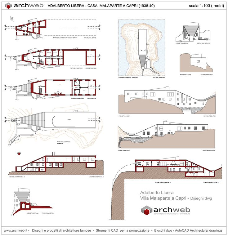 Villa Malaparte a Capri drawings plan