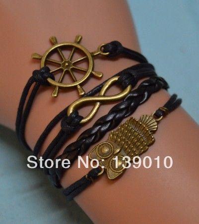 Черная кожа воск шнур сова руль бесконечность шарма браслет манжета браслеты мода мужчины женщины построить у вас есть ювелирных изделий