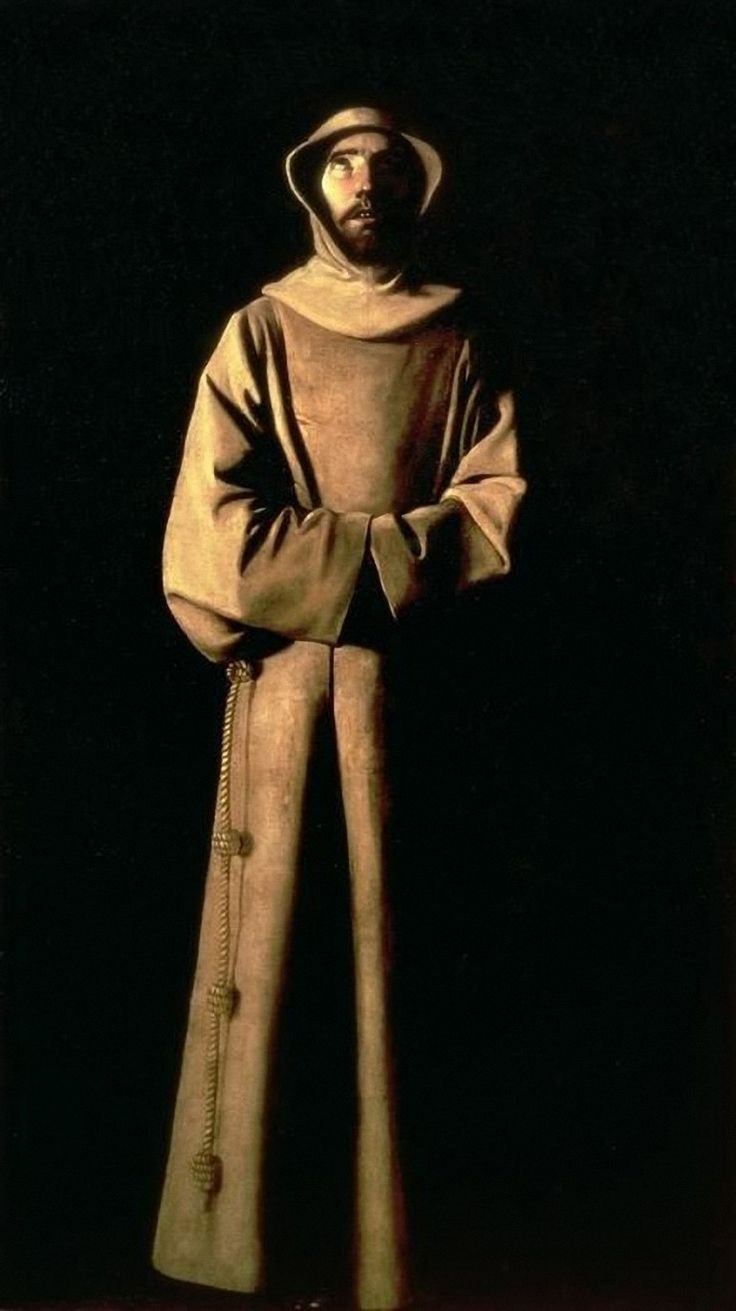 """Art from Spain - Francisco de Zurbarán (Badajoz 1598 – Madrid 1664). Spanish Baroque painter, Zurbarán devoted his career almost entirely to religious works. The artist's favorite subjects were religious figures—apostles, saints, monks. He was most applauded for his ability to combine realism with mysticism, bring a degree of accessibility to spiritual other worldliness.- """"San Francisco de Asis"""" 1645. Muséo de Cataluña, Barcelona, Spain."""