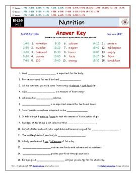 Differentiated Video Worksheet, Quiz & Ans. for Bill Nye - Nutrition ...