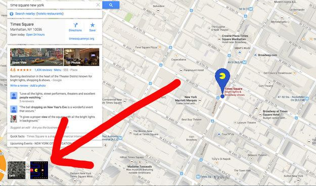 """Just open up Google Maps and click the Pac-Man icon next to the """"Earth View"""" option."""