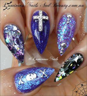 Luminous Nails: Halloween Acrylic Nails with Skull and Crosses