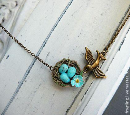 """""""Весна"""" - тёмно-бирюзовый,гнездо,гнездышко,весна,птицы,подарок девушке"""