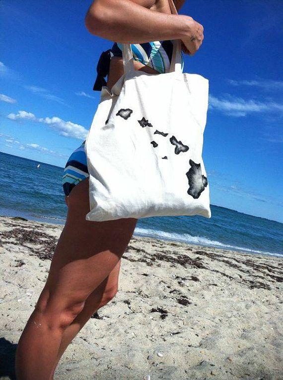 Hawaii tote canvas tote reusable bag Hawaiian Islands