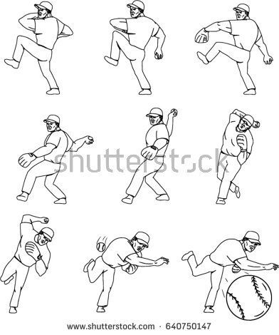 Collection set of illustrations of an american baseball player pitcher outfilelder in a throwing ball movement done in mono line style.   #baseball #monoline #illustration