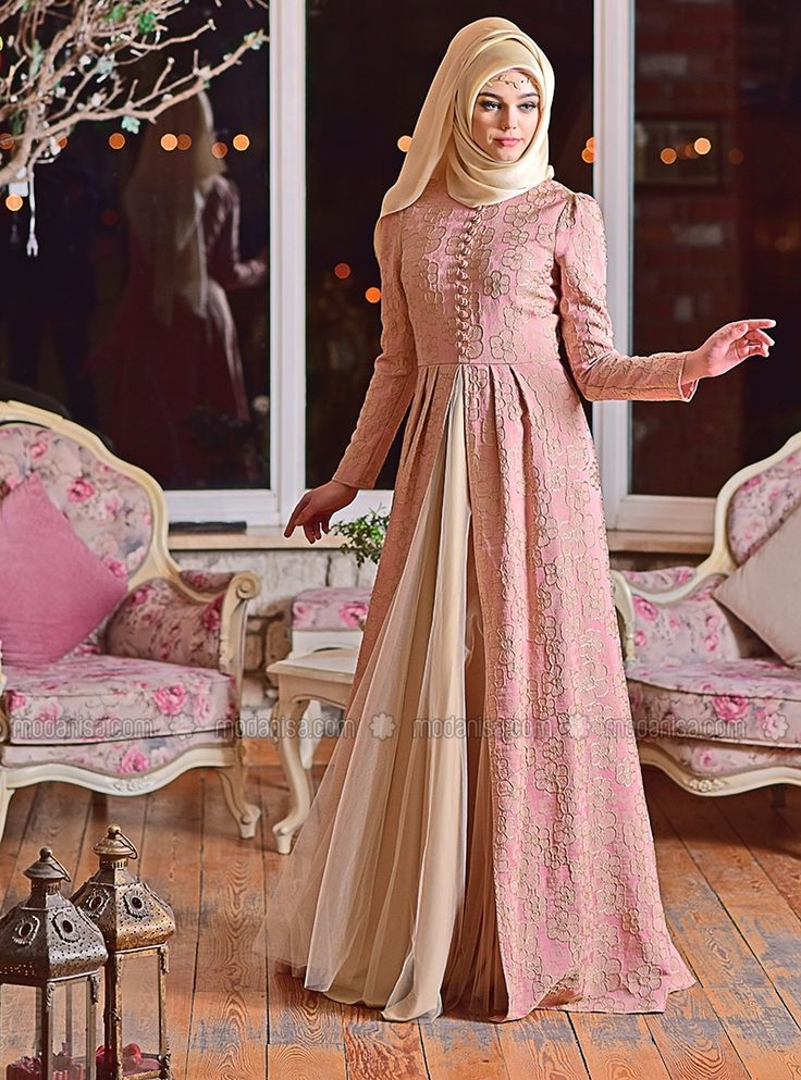 Drop Evening Dress - Pink - Minel Ask