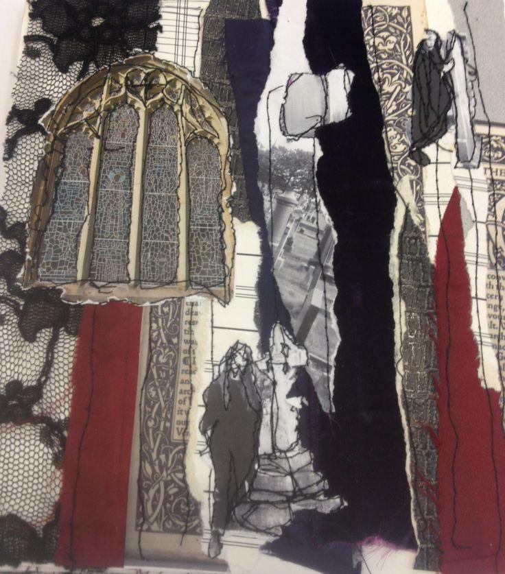 Laura Lothian: textiles, collage, stitch, applique, mixed media, gothic lace, inks. ALevel Textiles