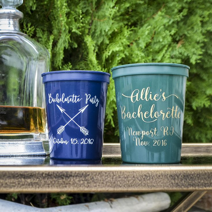 Personalized favors for your bridal party and great for destination bachelorette parties! LOVING the idea of custom cups!!
