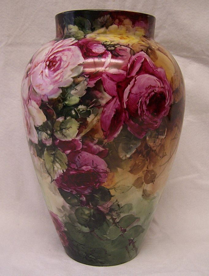 """Exceptionally Romantic Limoges Antique Vase ~ A  'Portrait of Roses"""" with hand painted  Red, Pink, Yellow, and White Lavender Heirloom Victorian Roses enveloping the surface of this exquisite French Porcelain Vase!"""