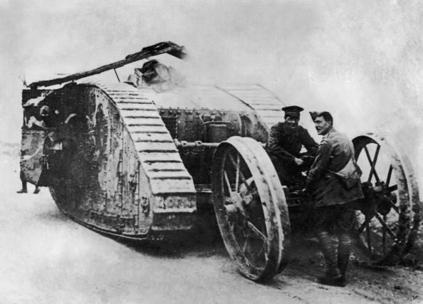 The first tank, the British Mark I, was designed in 1915 and first saw combat at the Somme in September 1916. The French soon followed suit with the Renault FT, which established the classic tank look (turret on top). Despite their later prowess in tank combat in WWII, the Germans never got around to large-scale tank production in WWI, although they did produce 21 tanks in the unwieldy A7V model.