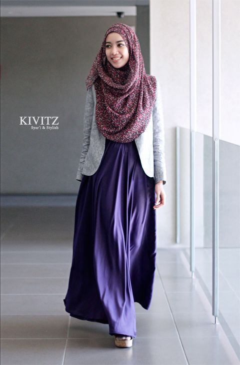 Hijab Fashion 2016/2017 purple Abaya with grey jacket from KIVITZ | Hijab fashion 2016 Gray ...