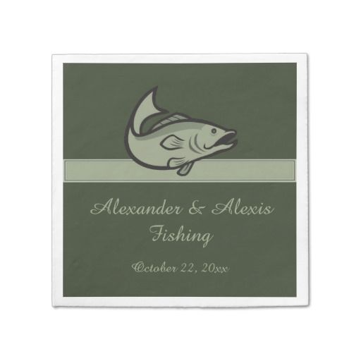 Bass Fish Fishing Fisherman Angling Green Wedding Paper Napkins This custom wedding, engagement, rehearsal dinner or anniversary party napkin features a bass fish with light green text and a dark green background. Great for a couple who loves to fish, a fishing guide, sportsman, outdoorsman, professional anglers or bait and tackle shop owners. Matching invitations, rsvp, save the date and thank you are available in my shop.  #bass #wedding #angler #fishing #fisherman