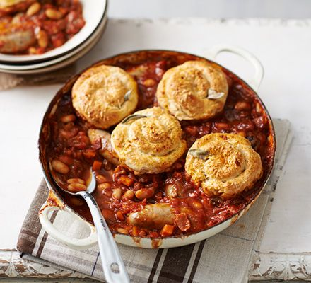 Warm your cockles with a hearty sausage stew topped with Parmesan cheese cobbler swirls- serve with bread or crispy baked potatoes