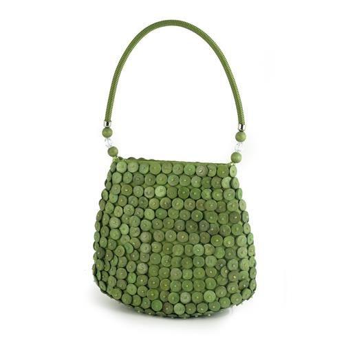BORSA MINI LUCE VERDE  -  Borsa mini in tessuto nei toni del verde, dotata di chiusura a bottone e manico rigido rivestito in tessuto, con applicazione di dischetti in legno dipinto e perline.