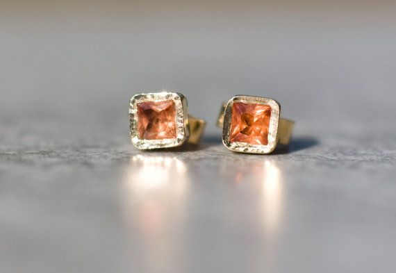 Orange sapphire square stud earrings in 14k yellow gold  by ARPELC