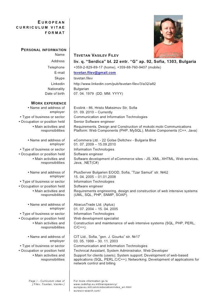 Cv Template Europe Curriculum vitae format, Resume