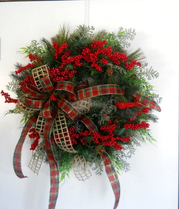 Country Christmas Door Wreath Christmas by ArtificialWreaths