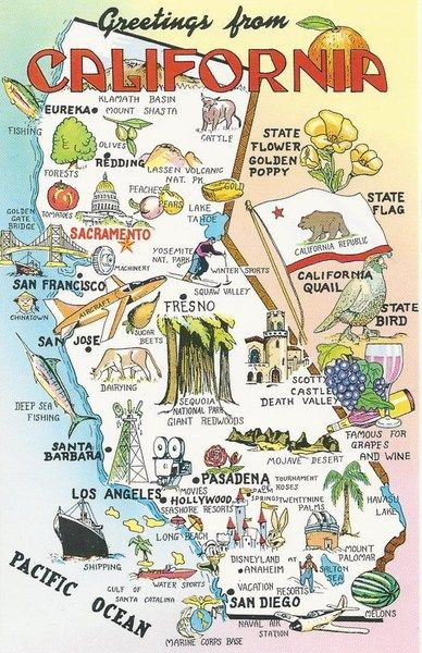 VINTAGE POSTCARD - MAP OF CALIFORNIA