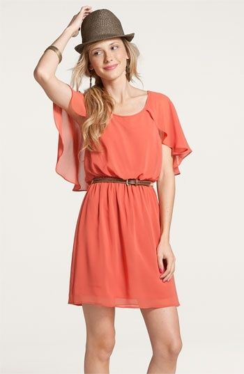 #IDie for this dress. #Peach dress and #Brown belt by fashion life