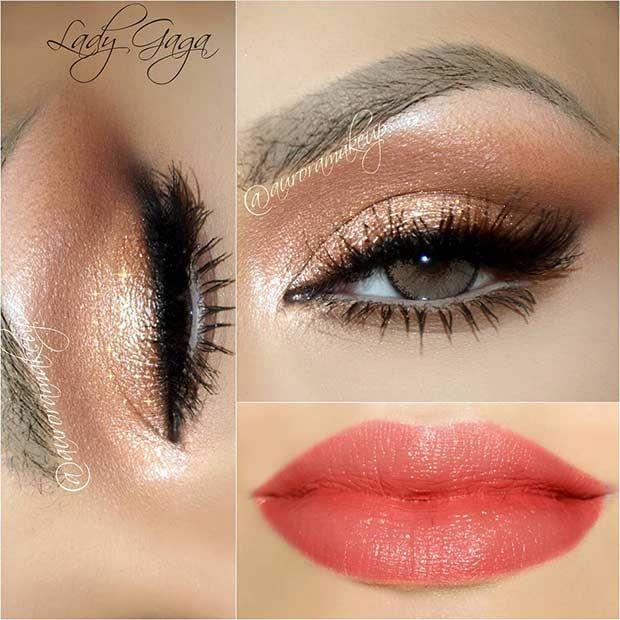 Dark Golden Eyes + Coral Lips