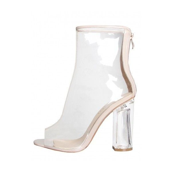Melissa Nude Peep Toe Perspex Heel Ankle Boots : Simmi Shoes - Love... ($58) ❤ liked on Polyvore featuring shoes, boots, ankle booties, peep toe boots, peep toe booties, nude ankle boots, peep-toe booties and ankle boots