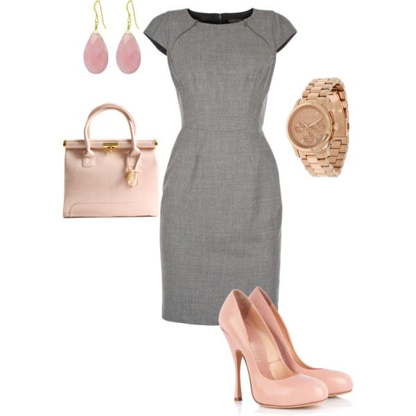 gray and pink... Need a stronger color than gray, but gorgeous dress style.: Pink Accessories, Cute Outfits, Pale Pink, The Offices, Work Outfits, Pink Shoes, The Dresses, Pink And Gray, Grey Dresses