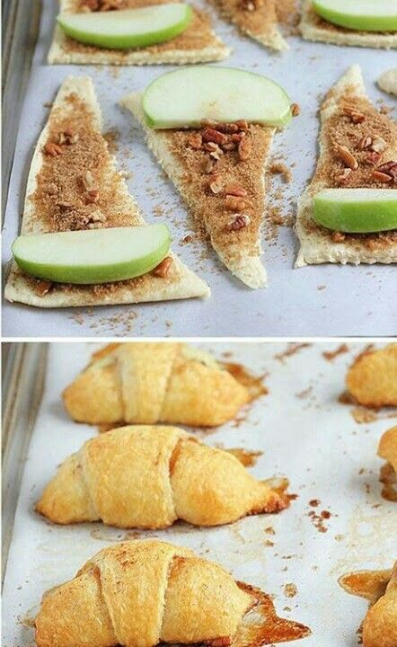 Cuernitos rellenos de canela y manzana