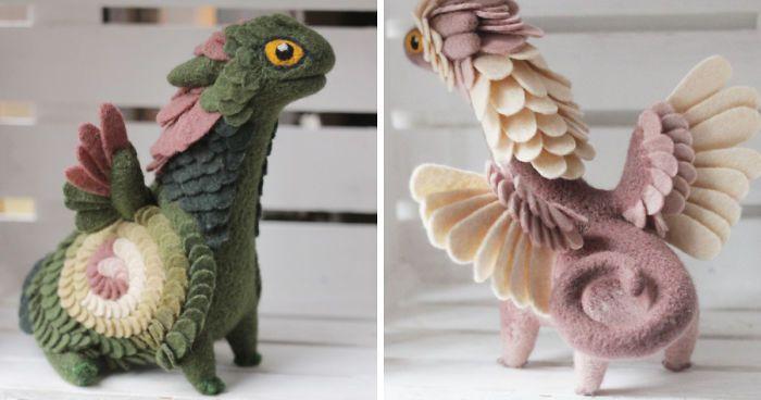 Alena Bobrova es una artesana rusa que que crea preciosas esculturas con fieltro de lana. Concretamente, detallados dragones con personalidades individuales y características propias.