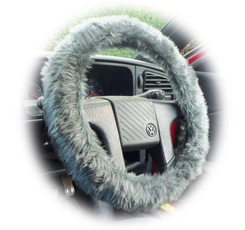 Fuzzy Dark Grey furry faux fur car steering wheel cover...