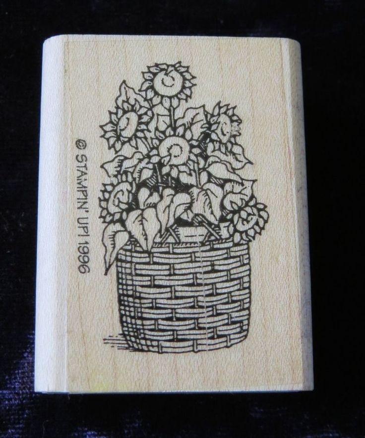 Spring Garden Sunflower Flower Wicker Basket 1996 RUBBER STAMP Card Stampin Up! #StampinUp