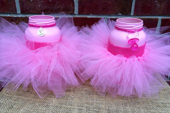 It S A Girl Baby Shower Centerpiece Pink Mason Jar Pink