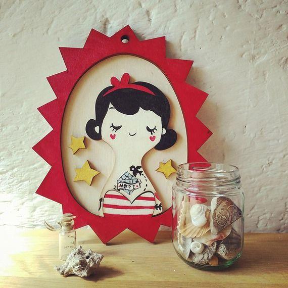 Handmade wooden frame. Sailor girl. Quadretto dipinto a mano marinaretta. Di violinviola