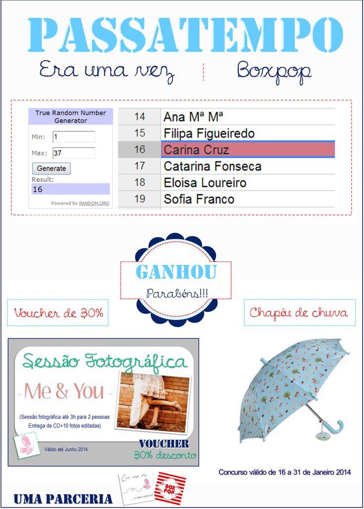 Vencedora do 5º Passatempo  Read more: http://eraumavez-osonhoperfeito.blogspot.pt/2014/01/vencedor-5-concurso-era-uma-vez-boxpop.html
