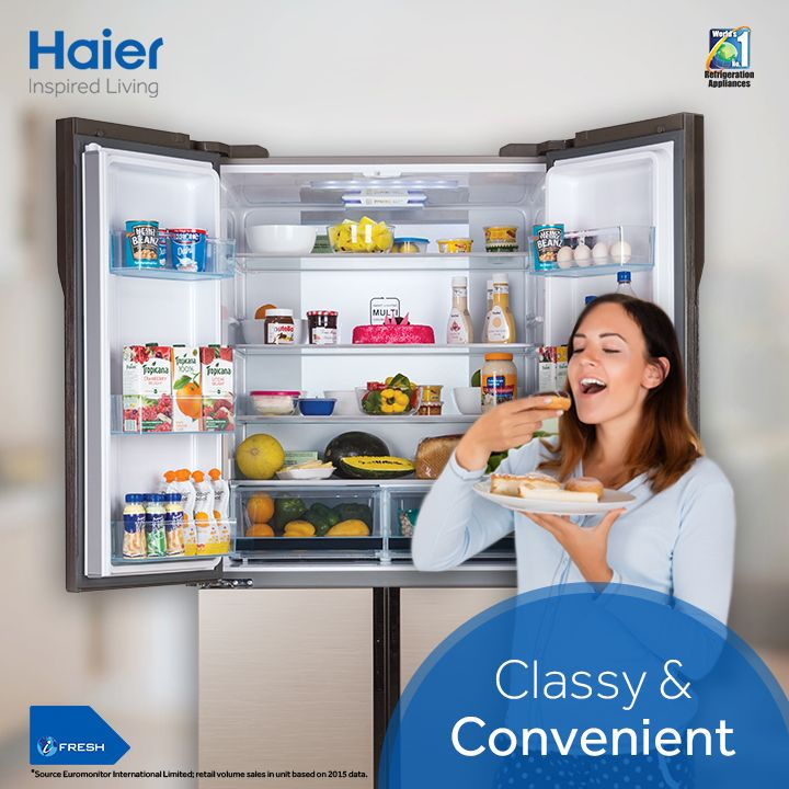 #Haier 4-Door SBS #Refrigerator boasts of new & stylish BMR styled French Door that makes daily use easier. Its centrally positioned vegetable box reduces bending by up to 90% as you can effortlessly search and store vegetables. #HaierIndia #InspiredLiving #Innovation #Haier #Refrigerator