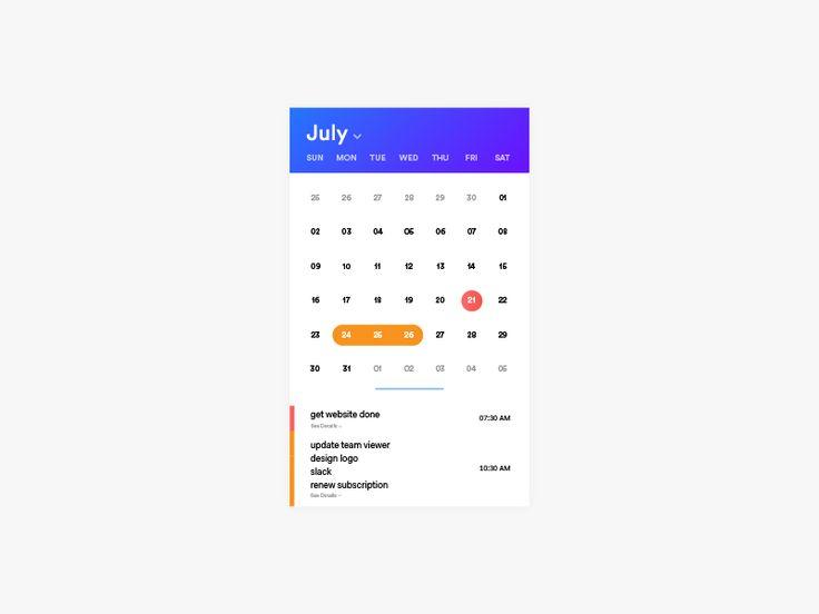 Calendar UI by Dawar Mir