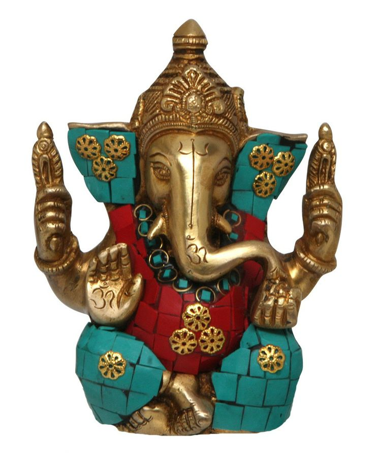 Beautiful brass Ganesh statue handmade in India. Great for bringing spiritual strength to your space.