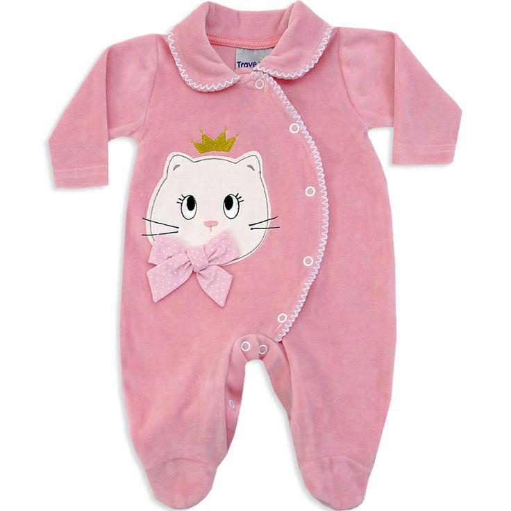 Macacão de Plush para Bebê e Recém Nascido Menina Rosa Antigo - Travessus :: 764 Kids | Roupa bebê e infantil