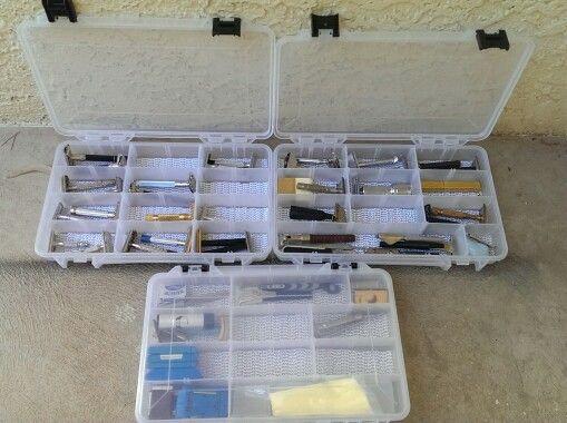 safety razor storage idea plano boxes and cut shelf liner. Black Bedroom Furniture Sets. Home Design Ideas