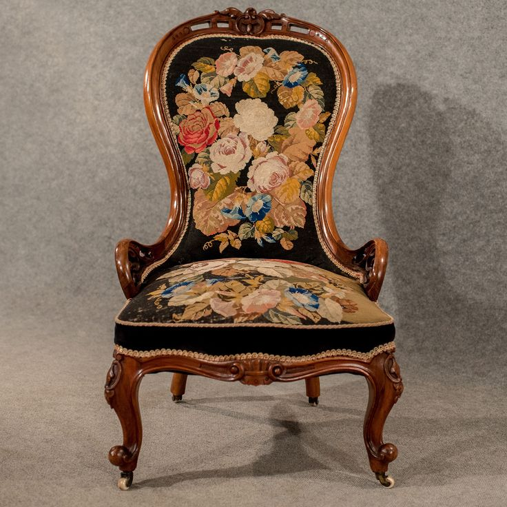 Antique Walnut Spoon Back Armchair Chair Needlepoint Tapestry Victorian  c1840 - 214 Best Needlepoint Upholstered Chairs Images On Pinterest