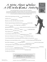Create your own silly story with this Mad-Lib type activity for The Witches by Roald Dahl. http://www.teachervision.fen.com/vocabulary/printable/67290.html #RoaldDahl #printables #TheWitches